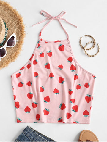 Halter Strawberry Crop Top