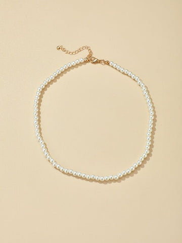 Faux Pearl Beaded Necklace