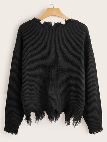 Plus Chunky Knit Frayed Drop Shoulder Sweater