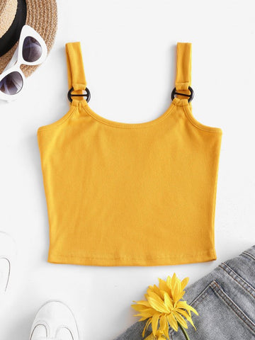 Ribbed Ring Slim Crop Tank Top