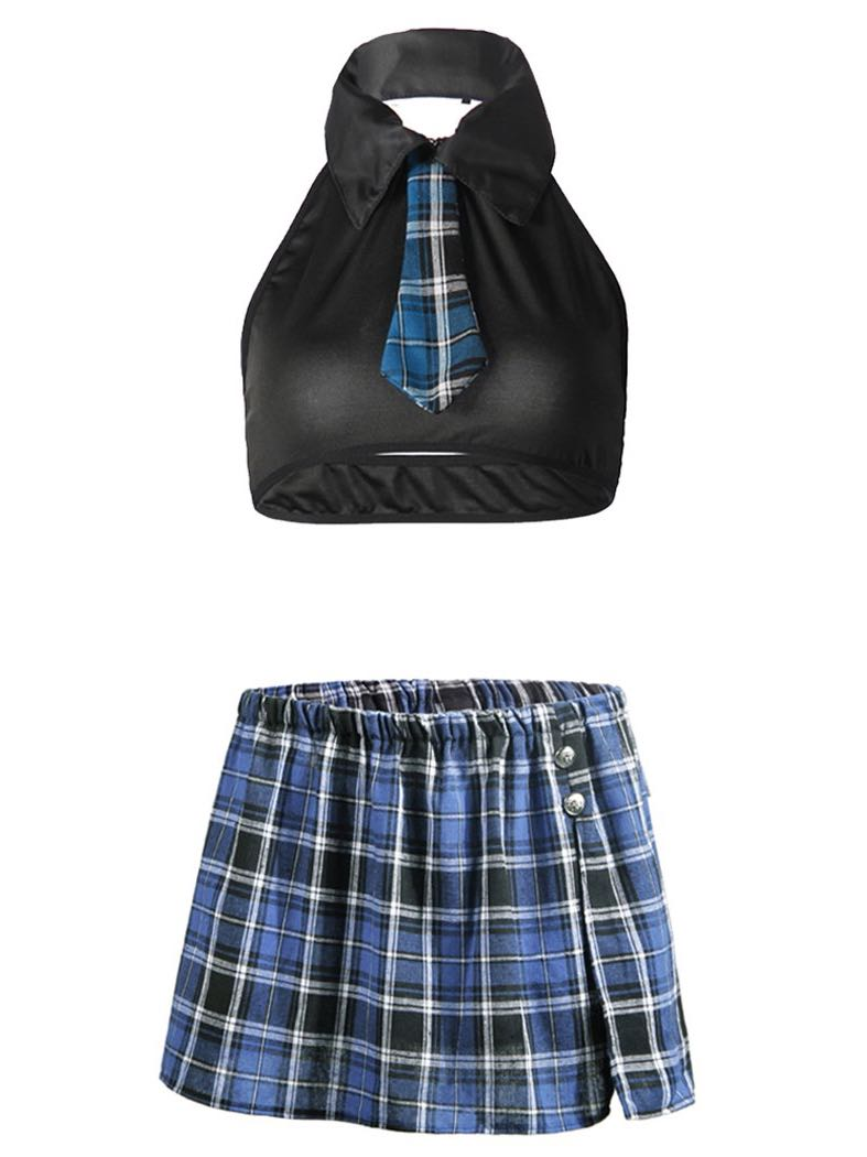 Women's Super Short Mini Plaid Skirt With Tie