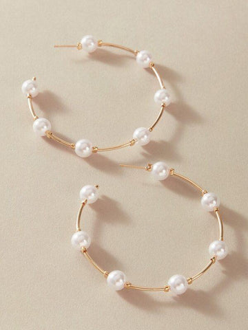 1pair Faux Pearl Decor Cuff Hoop Earrings - INS | Online Fashion Free Shipping Clothing, Dresses, Tops, Shoes