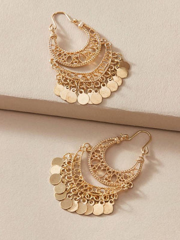 1pair Hollow Out Dics Charm Drop Earrings - INS | Online Fashion Free Shipping Clothing, Dresses, Tops, Shoes