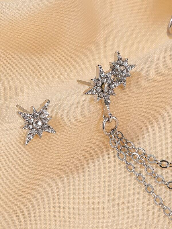 1pair Rhinestone Decor Chain Mismatched Earrings - INS | Online Fashion Free Shipping Clothing, Dresses, Tops, Shoes
