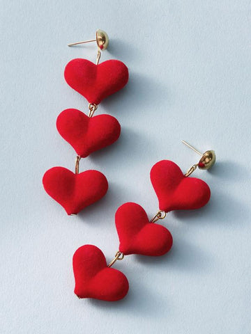 1pair Three Layered Heart Drop Earrings - INS | Online Fashion Free Shipping Clothing, Dresses, Tops, Shoes