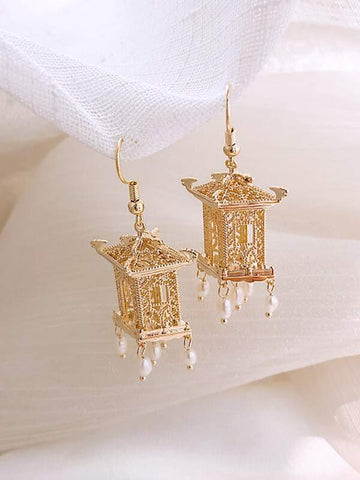 1pair Tower Decor Faux Pearl Tassel Drop Earrings - INS | Online Fashion Free Shipping Clothing, Dresses, Tops, Shoes