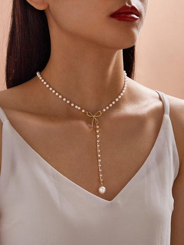 1pc Faux Pearl & Bow Decor Y Lariat Necklace - INS | Online Fashion Free Shipping Clothing, Dresses, Tops, Shoes