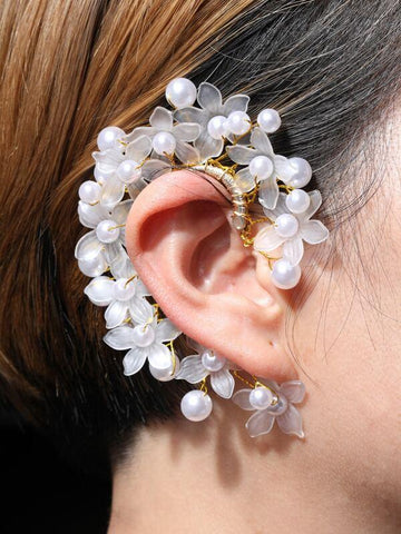 1pc Faux Pearl & Flower Decor Ear Wrap - INS | Online Fashion Free Shipping Clothing, Dresses, Tops, Shoes