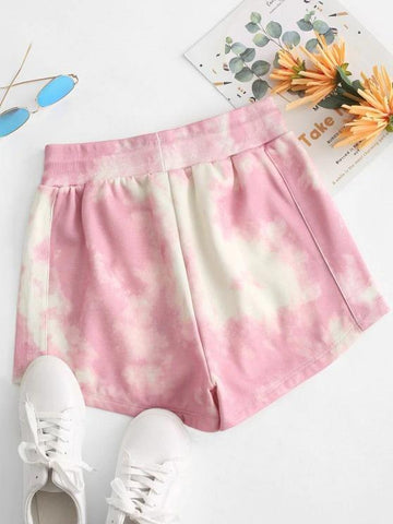 Tie Dye Fleece Lined Drawstring Shorts