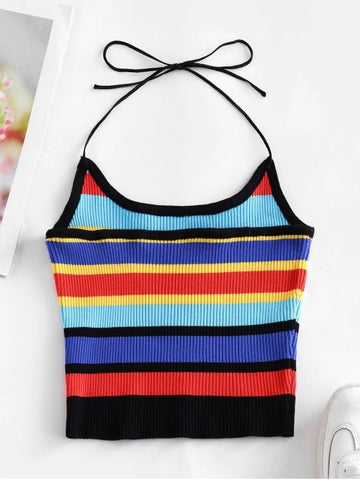 Halter Knitted Colorful Stripes Crop Top
