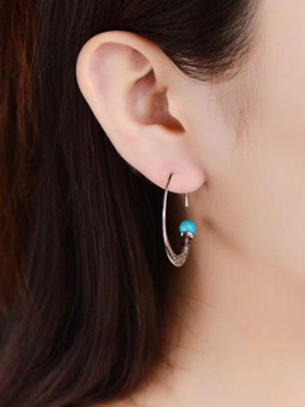 Women Alloy Hoop Dangle Stud Earrings