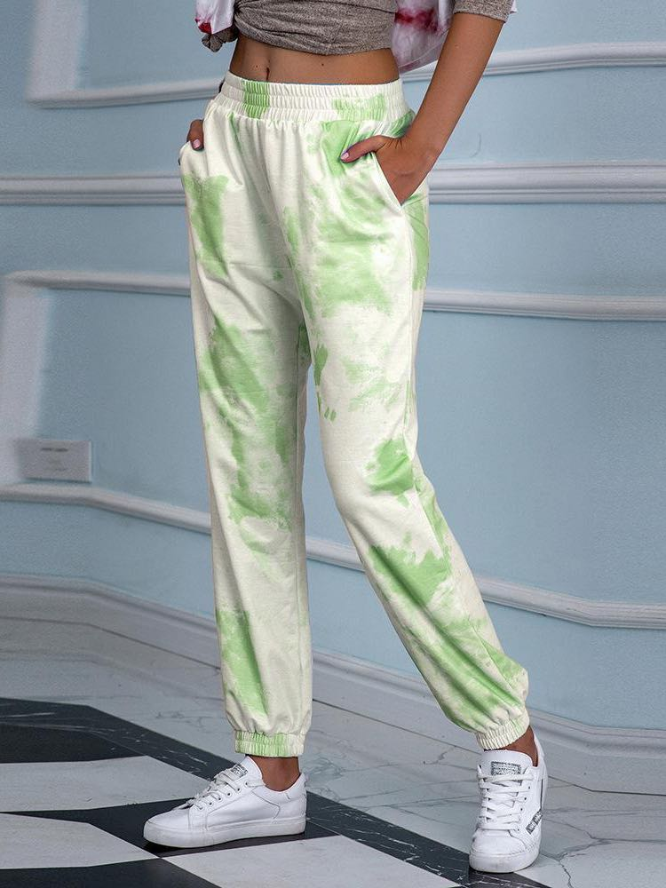 Women Tie-dyed Print Loose Casual Pants