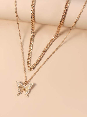 2pcs Gold Butterfly Charm Necklace - INS | Online Fashion Free Shipping Clothing, Dresses, Tops, Shoes