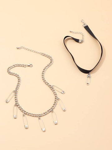 2pcs Safety Pin Charm Necklace - INS | Online Fashion Free Shipping Clothing, Dresses, Tops, Shoes