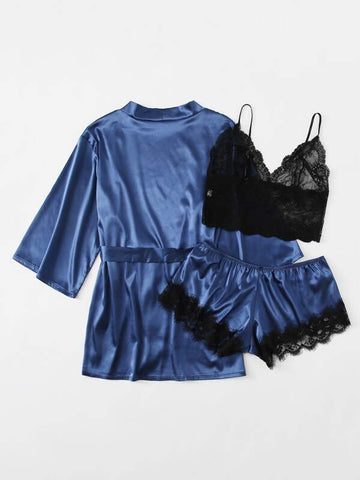 3pack Plus Contrast Lace Satin Lingerie Set & Robe - INS | Online Fashion Free Shipping Clothing, Dresses, Tops, Shoes
