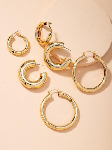 3pairs Chunky Hoop Earrings - INS | Online Fashion Free Shipping Clothing, Dresses, Tops, Shoes
