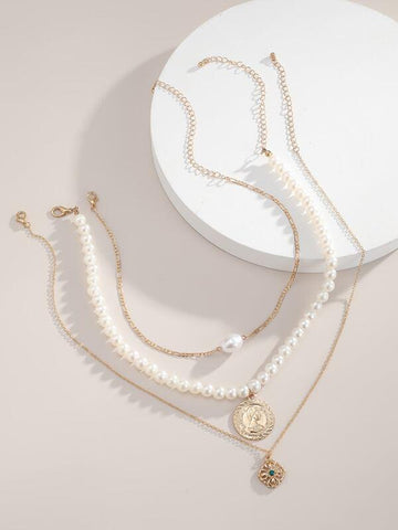 3pcs Coin Faux Pearl Decor Necklace - INS | Online Fashion Free Shipping Clothing, Dresses, Tops, Shoes