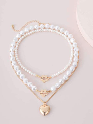 3pcs Faux Pearl Heart Decor Necklace - INS | Online Fashion Free Shipping Clothing, Dresses, Tops, Shoes
