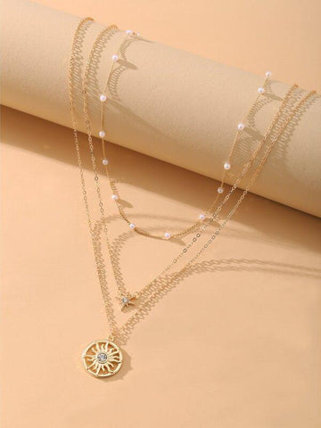3pcs Sun Charm Necklace - INS | Online Fashion Free Shipping Clothing, Dresses, Tops, Shoes