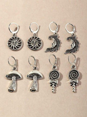 4pairs Sun Charm Drop Earrings - INS | Online Fashion Free Shipping Clothing, Dresses, Tops, Shoes