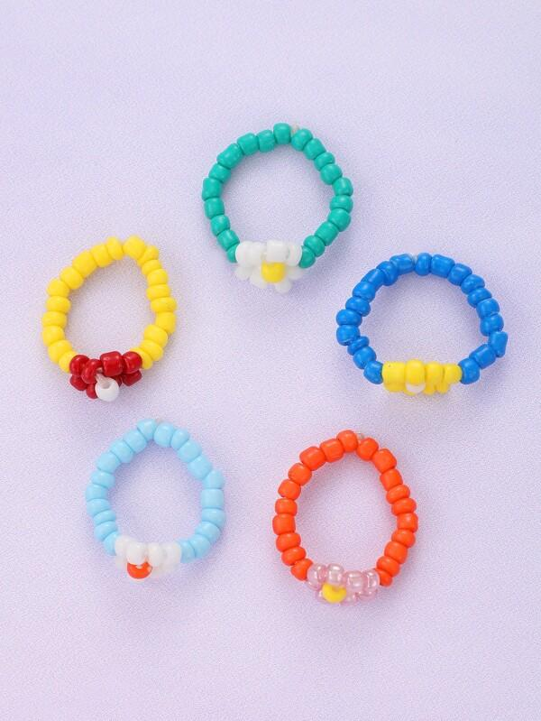 5pcs Simple Beaded Ring - INS | Online Fashion Free Shipping Clothing, Dresses, Tops, Shoes