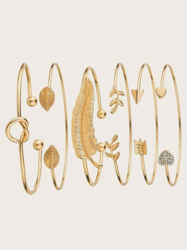 6pcs Leaf & Heart Decor Cuff Bangle - INS | Online Fashion Free Shipping Clothing, Dresses, Tops, Shoes