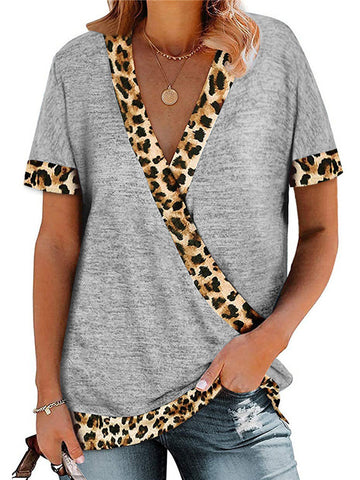 Women's Leopard Print V-Neck Construct Color T-Shirt