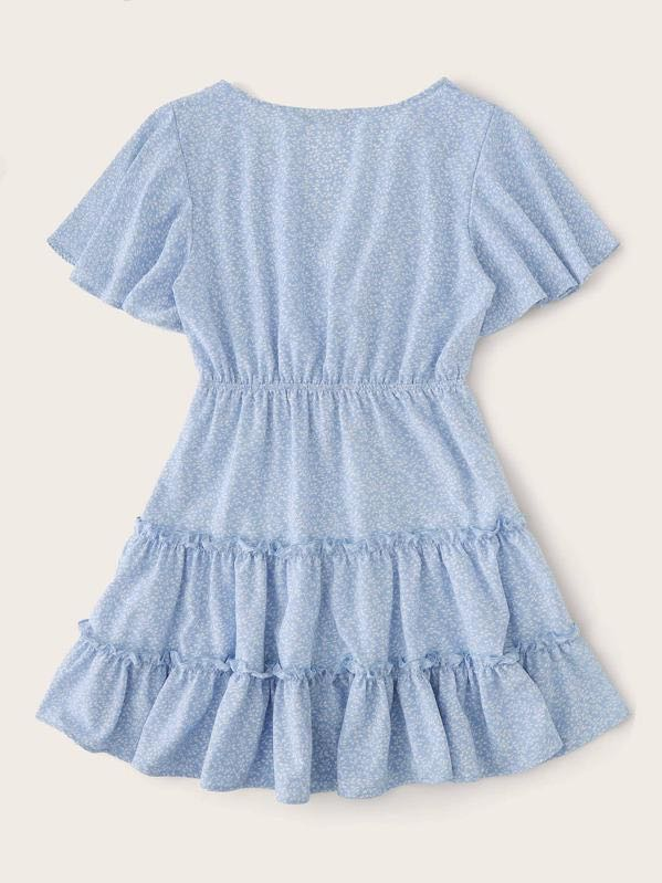 Allover Plants Print Flutter Sleeve Frill Trim Tiered Dress - INS | Online Fashion Free Shipping Clothing, Dresses, Tops, Shoes