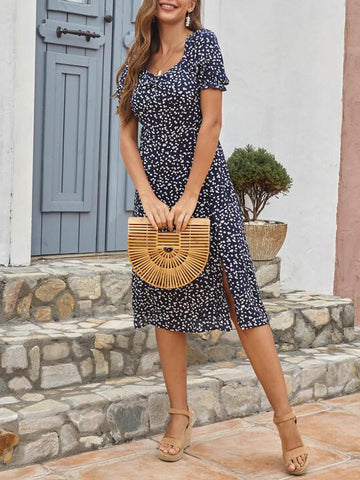 Allover Print Split Thigh A-line Dress - INS | Online Fashion Free Shipping Clothing, Dresses, Tops, Shoes