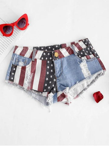 American Flag Frayed Ripped Mini Denim Shorts - INS | Online Fashion Free Shipping Clothing, Dresses, Tops, Shoes