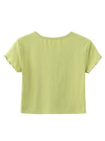Angel Print Lettuce Trim Tee - INS | Online Fashion Free Shipping Clothing, Dresses, Tops, Shoes