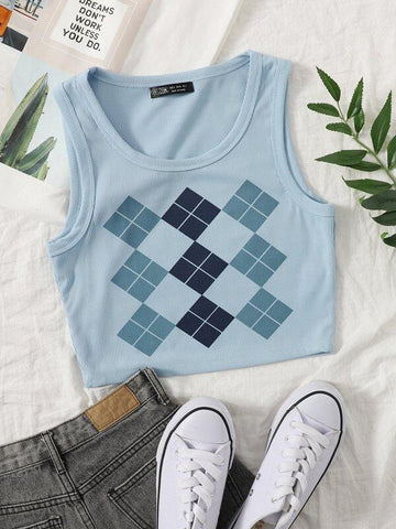 Argyle Print Rib-knit Tank Crop Top - INS | Online Fashion Free Shipping Clothing, Dresses, Tops, Shoes