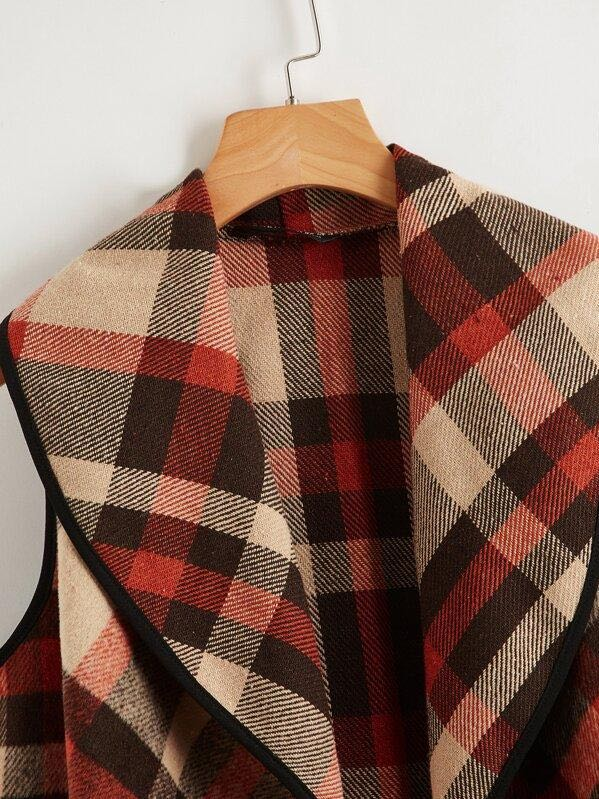 Asymmetrical Hem Plaid Waterfall Coat - INS | Online Fashion Free Shipping Clothing, Dresses, Tops, Shoes