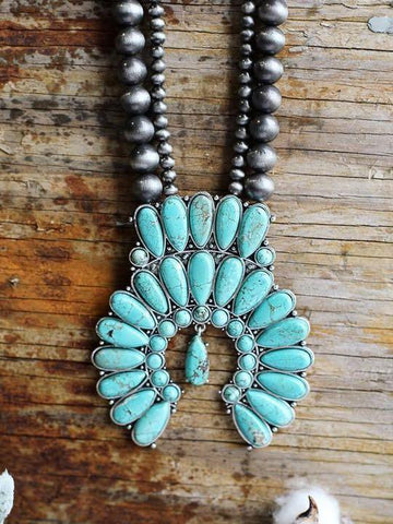 AUTHENTIC TURQUOISE STONES - ZYON NECKLACE - TURQUOISE - INS | Online Fashion Free Shipping Clothing, Dresses, Tops, Shoes