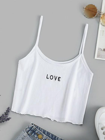 Basic Embroidered Cropped Cami Top - INS | Online Fashion Free Shipping Clothing, Dresses, Tops, Shoes