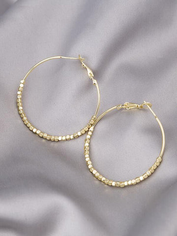 Bead Detail Hoop Earrings - INS | Online Fashion Free Shipping Clothing, Dresses, Tops, Shoes