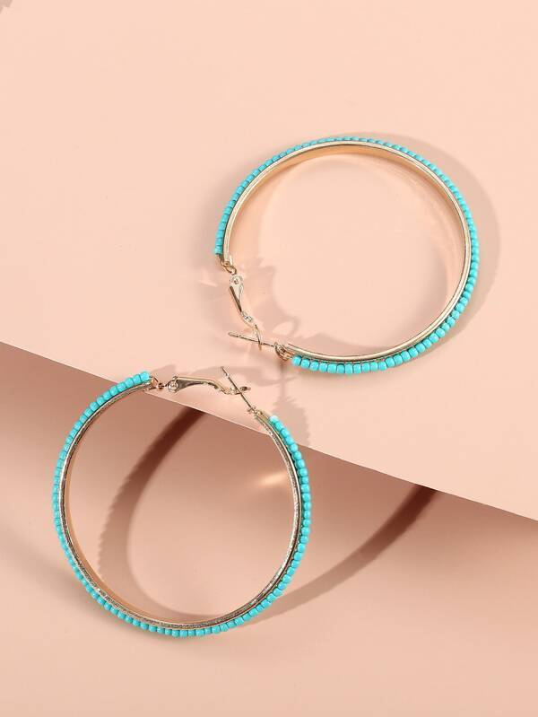 Beaded Hoop Earrings - INS | Online Fashion Free Shipping Clothing, Dresses, Tops, Shoes