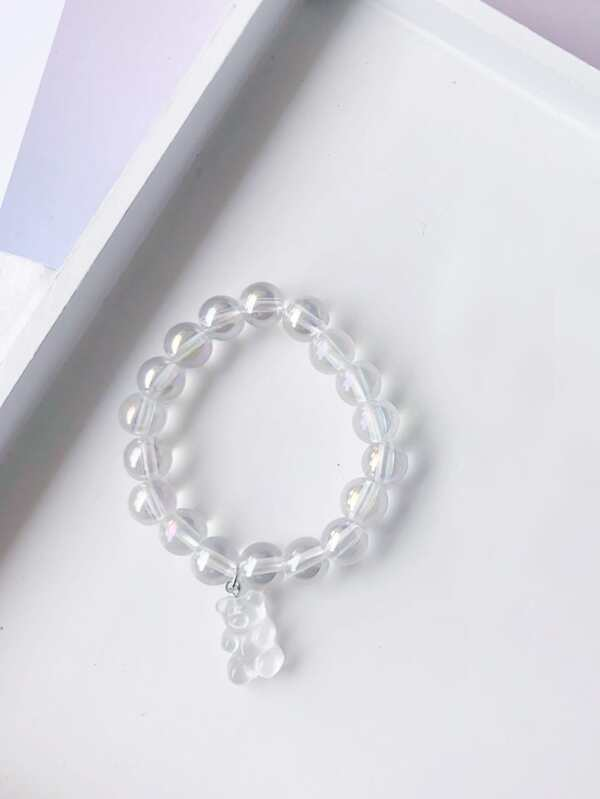 Bear Charm Clear Beaded Bracelet - INS | Online Fashion Free Shipping Clothing, Dresses, Tops, Shoes