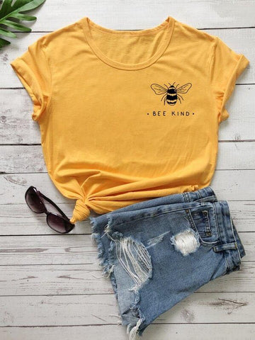 Bee And Letter Graphic Tee - INS | Online Fashion Free Shipping Clothing, Dresses, Tops, Shoes
