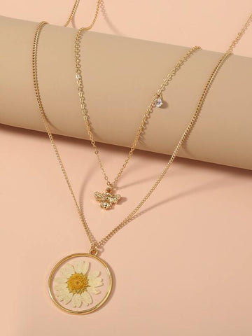 Bee & Flower Charm Layered Necklace - INS | Online Fashion Free Shipping Clothing, Dresses, Tops, Shoes