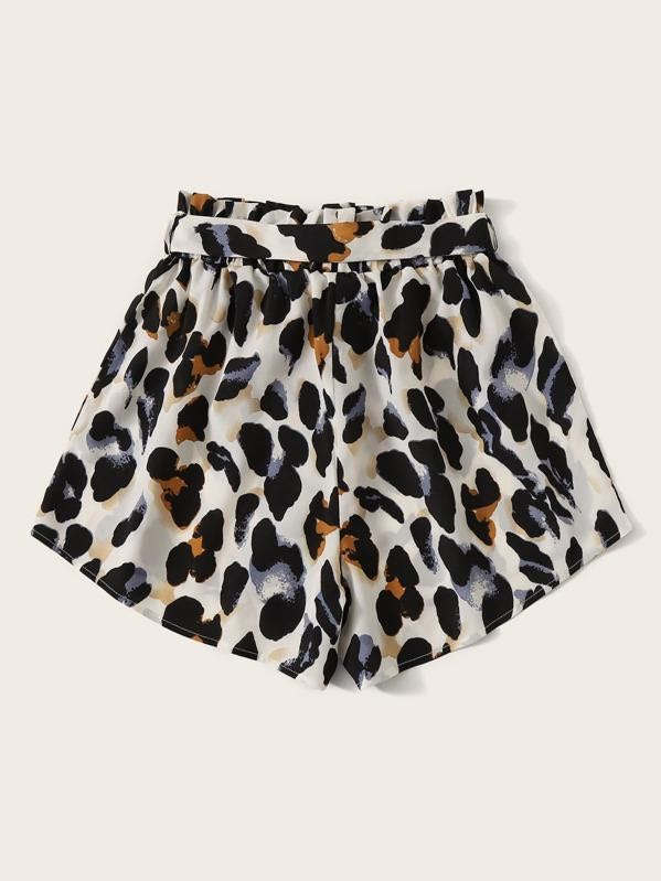 Belted Leopard Print Paperbag Shorts - INS | Online Fashion Free Shipping Clothing, Dresses, Tops, Shoes