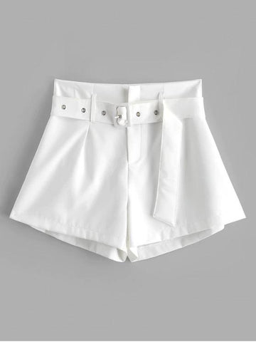 Belted Zip Fly High Waisted Shorts - INS | Online Fashion Free Shipping Clothing, Dresses, Tops, Shoes