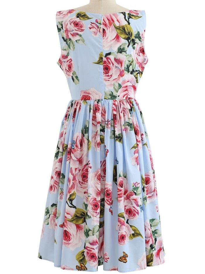 Blooming Pink Rose Printed Pleated Cotton Dress In Blue - Midi Dresses - INS | Online Fashion Free Shipping Clothing, Dresses, Tops, Shoes - 23/04/2021 - Color_Blue - DRE210423003