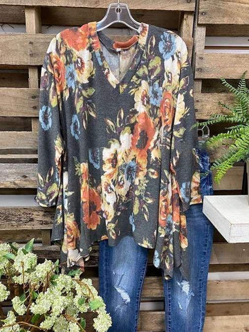 Bohemian Floral Print Irregular Hem Casual T-Shirt - INS | Online Fashion Free Shipping Clothing, Dresses, Tops, Shoes