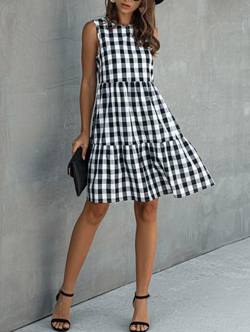 Buffalo Plaid Sleeveless Ruffle Hem Babydoll Dress - INS | Online Fashion Free Shipping Clothing, Dresses, Tops, Shoes