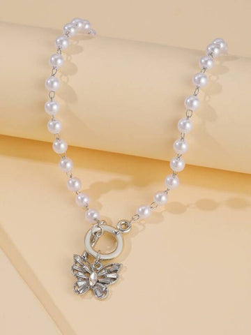 Butterfly Charm Faux Pearl Choker - INS | Online Fashion Free Shipping Clothing, Dresses, Tops, Shoes