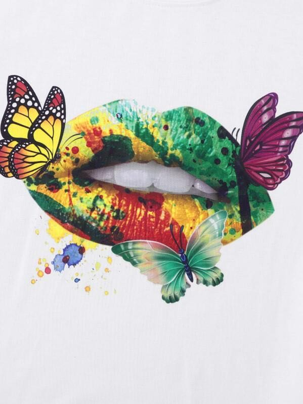 Butterfly & Colorful Mouth Print Tee - INS | Online Fashion Free Shipping Clothing, Dresses, Tops, Shoes
