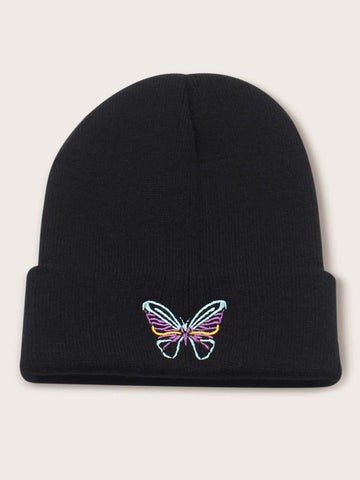 Butterfly Embroidered Beanie - INS | Online Fashion Free Shipping Clothing, Dresses, Tops, Shoes