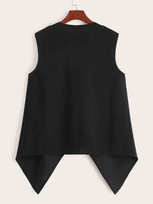 Button Detail Draped Collar Asymmetrical Vest - INS | Online Fashion Free Shipping Clothing, Dresses, Tops, Shoes