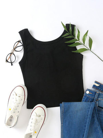Button Detail Scoop Neck Tank Top - INS | Online Fashion Free Shipping Clothing, Dresses, Tops, Shoes